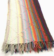 Crochet Afghan Handmade Blanket Throw Fringe Multi Color Southwest Stripes 60x46