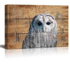 Wall26 - Double Exposure Rustic An Owl - Canvas Art Wall Decor - 32x48 inches