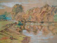 Belle aquarelle et gouache tableau paysage signé 1945 peinture pécheur rivière