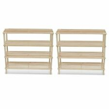 vidaXL 2x 4-Tier Wooden Shoe Rack Footwear Shelf Storage Organiser Unit Stand