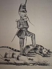 RARE Litho CARICATURE POLITIQUE MILITAIRE REPUBLIQUE ANIMAUX CHAT SOURIS 1848