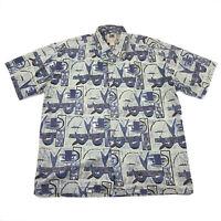 Kahala Vintage Hawaiian Shirt Mens Size Large Blue Avi Collection Button Front
