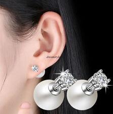 Fashion 925 Sterling Silver Women Crystal Pearl Ear Studs Earrings Jewelry Gift