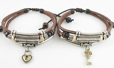 Love Jewelry Lot 2 Adjustable Ethnic Hemp Leather Bracelet Wristband Mens Womens