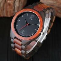 Men's Bamboo Wirstwatch Bracelet Wood Watch Quartz Leather Strap Wooden Watches