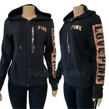 VICTORIAS SECRET PINK Sequin Bling Logo Hoodie Full Zip Sweatshirt Logo Jacket