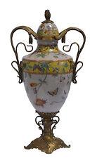 In ottone Ceramica Coperchio Anfora Vaso Stile liberty floreale sontuosa