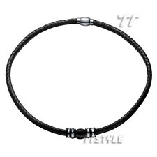 TT Black Leather Two-Tone S.Steel Bead Magnet Buckle Collar Necklace (CL11)