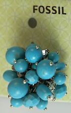 FOSSIL BRAND Beaded Cluster Stretch RING Turquoise Beads Silver One Size NWT