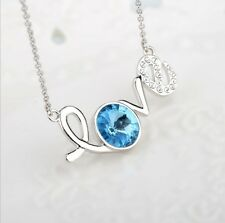 "Fashion Silver ""Love"" Pendant Chain blue Crystal Zirconia Necklace Women Jewelry"