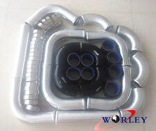 """3"""" 76mm aluminum universal Intercooler Turbo Piping pipe & Blk hose & Clamps"""