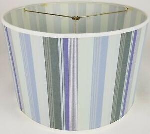 "NEW Drum Lamp Shade 15"" Dia 10"" H Contemporary Blue & Gray Stripes Fabric"