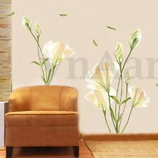 Removable White Lily Flower Wall Stickers Art Decal DIY Home Living Room Office