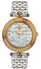 Versace Women's VK7200014 VANITAS Diamond Gold IP Silver Leather 2 bands Watch
