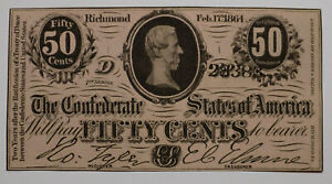 1864 Confederate States of America 50 cents fractional currency AU+