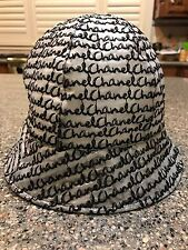 CHANEL 15S Spring White Black Opaque Script Cloche Hat, size M NEW w/o Tags