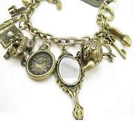 Hot Sale Teapot Frog Clock Wonderland Bracelet Stylish Bronze Charms Mirror Fad.