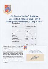 ARCHIE ANDREWS QUEENS PARK RANGERS 1956-1958 RARE ORIGINAL AUTOGRAPH CUTTING