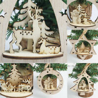 Christmas Tree Hanging Pendant Wooden Carving Home Xmas Party Decor Accessories