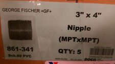 """New listing (Box of 5) 3""""x4"""" Nipple (MptxMpt) Gf Pvc Sch 80 P/N 861-341"""