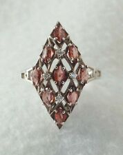 925 Sterling Silver ladies Marquise garnet ring size 8-8.5   QVC