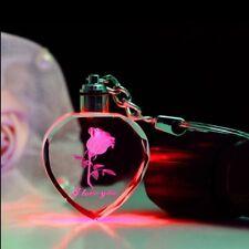LED-Kristall Schlüsselanhänger, 3D Gravur - Rose, Text - I LOVE YOU, Geschenk