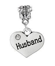 Husband Heart Wife Bride Wedding Gift Dangle Bead fits European Charm Bracelets