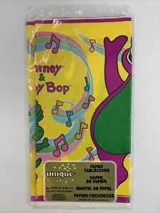 "VTG 1992 Barney & Baby Bop Paper Tablecloth 54"" x 84"" New Sealed"