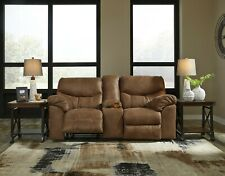 Oregon Brown Faux Leather Recliner Loveseat