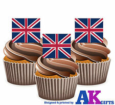 Union Jack Great Britain British Flag -12 Edible Wafer Cake Toppers Decorations