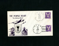 US Purple Heart Stamp Cover With 2 Victory Cancels