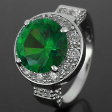 Sale! Lady Fashion Jewelry Round Cut Green Emerald Fine Clear Topaz  Ring O/7