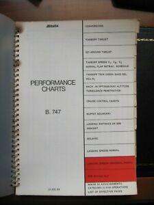 ALITALIA Boeing B-747 ORIGINAL Performance charts pilot crew deck manual 15/7/84