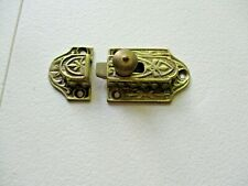 Antique Ornate Cabinet Cupboard  Brass Slide knob Latch Lock Vtg