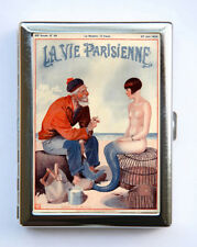 Cigarette Case id case Wallet La Vie Parisienne Fisherman and Mermaid Art Deco