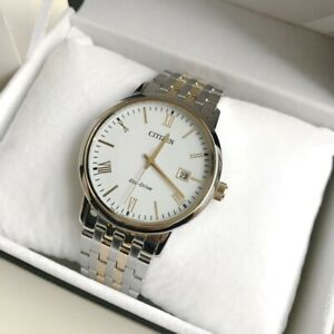 Citizen Eco-Drive Watch * BM6774-51A Gold & Silver Date Watch Made in Japan