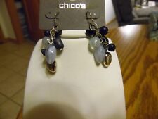 Chico's Silver with Blue & Silver Beads Dangle Pierced Earring NWT