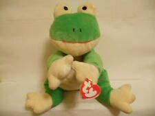 """Ty Pillow Pal """"Ribbit"""" Green Version Frog 14 Inch Stuffed Toy 1996 (All Tags)"""