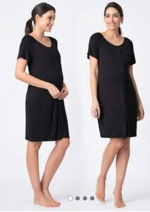 Seraphine Black Button Down Maternity And Nursing Gown Hospital Bag,size L