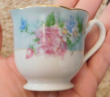 Vintage Teacup S.G.K. DEMITASSE CUP Occupied Japan China Blue & White Floral