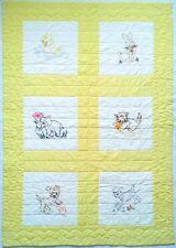 Vtg. Baby Crib Quilt Blanket Handmade Embroidered Baby Animals Lamb Puppy Kitten