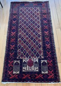 Vintage Traditional Area Rug Hand-knotted Wool Oriental Carpet 5x2.5 Ft