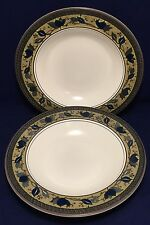 "Set of 2 MIKASA Intaglio Arabella Large Rimmed Soup Bowls 9 3/8"" Blue Green Rim"