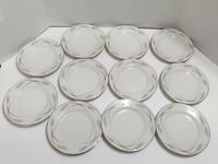 "Jyoto China Japan Grace #8063 Bread Plate 6.25"" Set of 11 Silver on White"