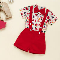 Infant Baby Girl Boy Christmas Cartoon Print Romper Suspender Trousers Outfit AU