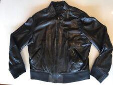 Zara Man Black Leather Bomber Jacket, Large, Super Soft