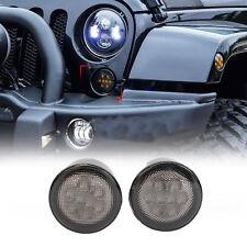 EFF Front Amber LED Turn Signal Lights for Jeep Wrangler JK 2007-2015 Smoke Lens