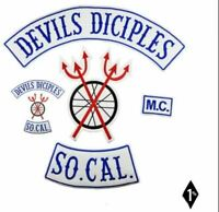 """JUMBO RED DEVILS DICIPLES MC BIKER VEST EMBROIDERED PATCH SET 18"""" IRON ON"""