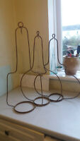 THREE ANTIQUE / VINTAGE WROUGHT IRON HANDING BRACKETS FOR BRASS OIL LAMPS