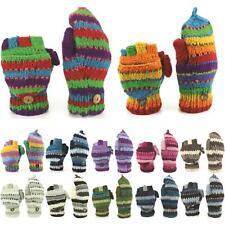Wool Gloves Mittens Fingerless Shooter Lined STRIPEY Knit Handmade LoudElephant